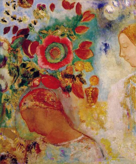 ODILON REDON Two Young Girls Among Flowers